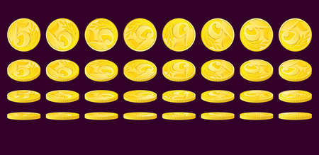 nominal: Golden coin rotated in various positions. Five monetary units nominal.