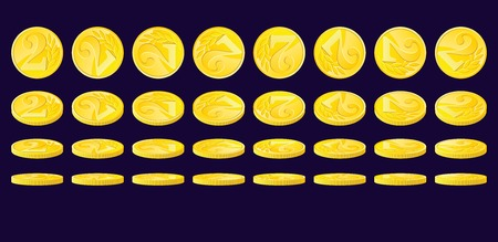 monetary: Golden coin rotated in various positions. Two monetary units nominal. Illustration
