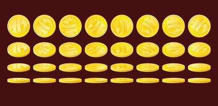nominal: Golden coin rotated in various positions. Ten monetary units nominal.