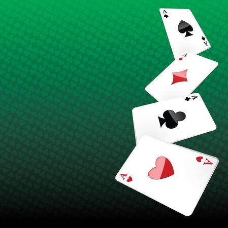 aces: Poker background with four aces winning.
