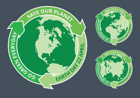 slogans: Badges of globe and arrows with Earth day slogans written inside. EPS8 vector illustration.