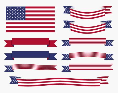 Set of american USA flag, banners and ribbons patriotic design elements.