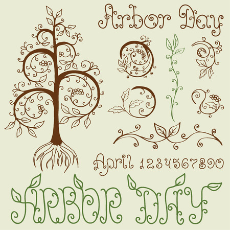 arbor: Set of hand drawn floral design elements for Arbor Day celebration. Includes different Arbor Day titles and numbers. EPS8 vector illustration. Illustration