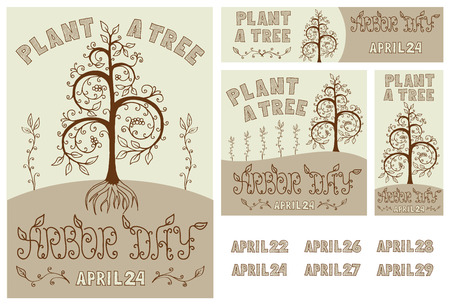 arbor: Set of hand drawn floral poster, card, flyer and banner for Arbor Day celebration with Plant a Tree slogan. Includes dates of Arbor Day up to 2020. EPS8 vector illustration. Illustration