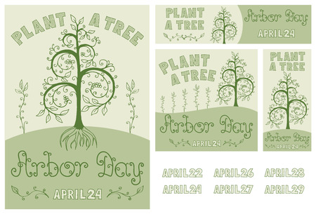 arbor: Set of hand drawn floral poster, card, flyer and banner for Arbor Day celebration with Plant a Tree slogan. Includes dates of Arbor Day up to 2020.  Illustration