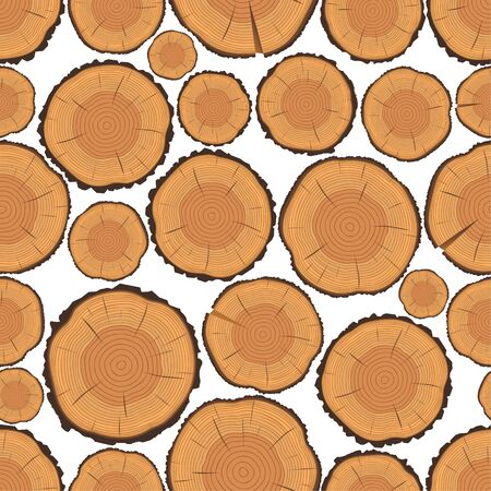 tree rings: Vector seamless pattern of tree rings and saw cut tree trunk