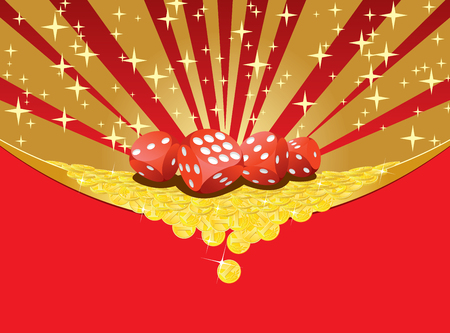 money background: Abstract gambling background with dices and heap of golden coins falling down. EPS8 vector illustration.
