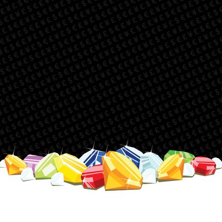 Haufen von Diamanten und Edelsteine ??Glücksspiel Hintergrund mit Spielkarte passt. EPS8 Vektor-Illustration.