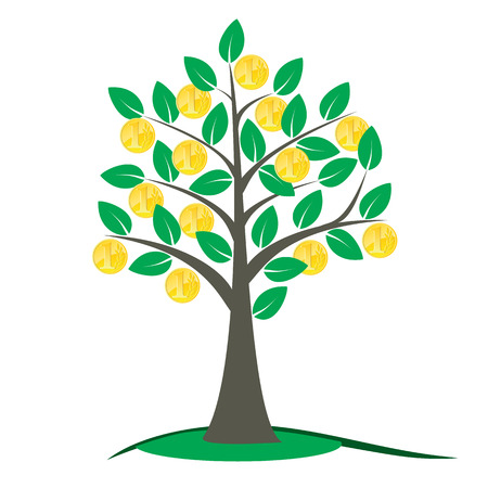 pensions: Money tree vector illustration with green leafs and golden coins on the branches. Illustration