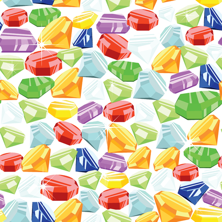 saturate: Colorful gemstone seamless pattern on white background. EPS8 vector illustration.