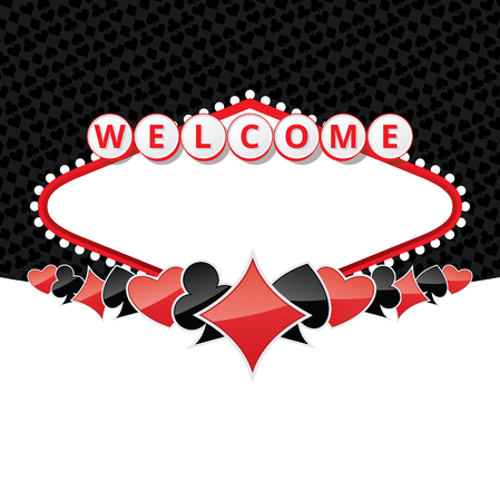 Background with sign like Welcome to Fabulous Las Vegas Nevada and poker card suits. Contains empty space for your text. EPS10 vector illustration.
