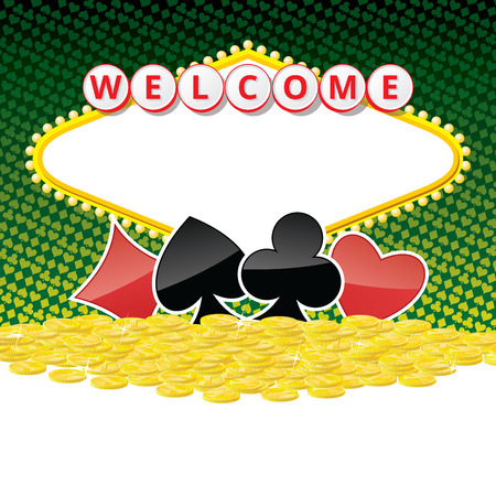 night suit: Background with sign like Welcome to Fabulous Las Vegas Nevada, playing card suits and heap of golden coins. Contains empty space for your text. EPS10 vector illustration.