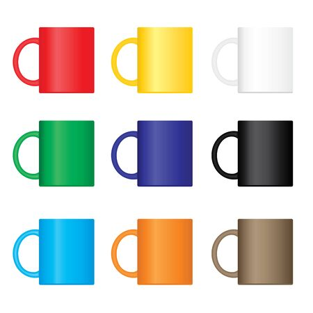 Set of various colors nine mugs. EPS8 vector illustration.