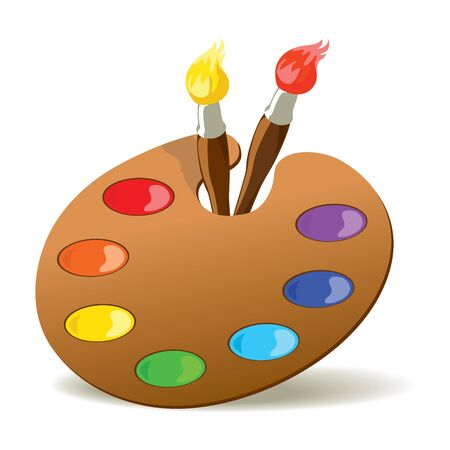 palette: Paintbrushes and palette with basic colors. EPS8 vector illustration. Illustration