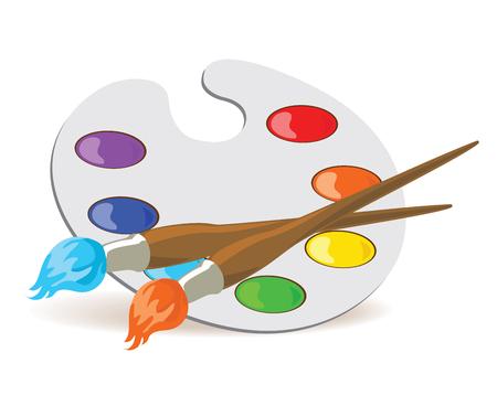 brocha de pintura: Pinceles y la paleta con los colores básicos. ilustración vectorial EPS8. Vectores