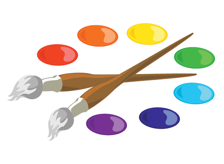 colors paint: Paintbrushes and seven basic paint colors. EPS8 vector illustration. Illustration