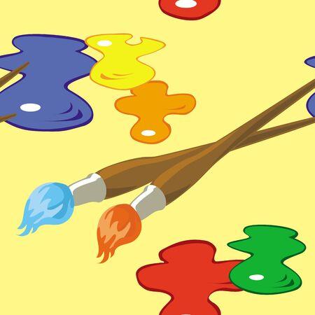 brocha de pintura: sin patrón, con pinceles y manchas de pintura sobre fondo amarillo.
