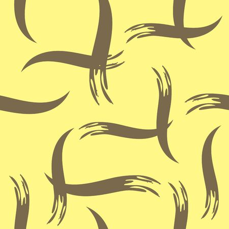 seamless pattern with brown paint strokes on yellow background. Illustration