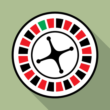 wheel of fortune: Flat icon of casino roulette wheel in black, red and green colors. May be used for gambling apps and websites. Illustration