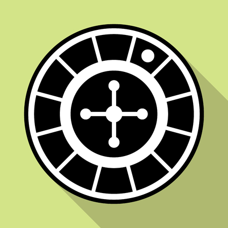 wheel of fortune: Flat icon of casino roulette wheel in black and white colors. May be used for gambling apps and websites.