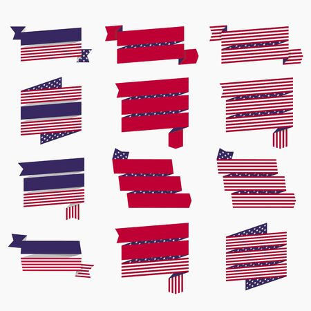 Set of American USA flag, banners, badges and ribbons patriotic design elements. Illustration