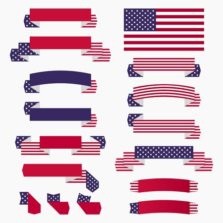 Set of American USA flag, banners, badges and ribbons patriotic design elements.