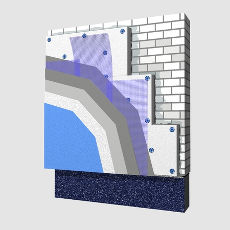 insulation: 3D layered scheme of exterior wall insulation using polystyrene panels for thermal isolation. Stock Photo