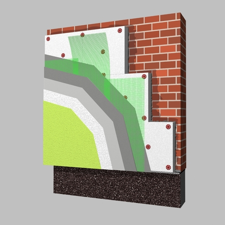 polystyrene: 3D layered scheme of exterior wall insulation using polystyrene panels for thermal isolation. Stock Photo