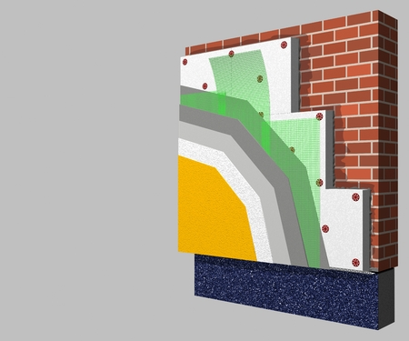 3D layered scheme of exterior wall insulation using polystyrene panels for thermal isolation. Stock Photo
