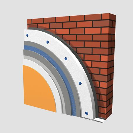 isolation: 3D layered scheme of exterior wall insulation using polystyrene panels for thermal isolation. Stock Photo