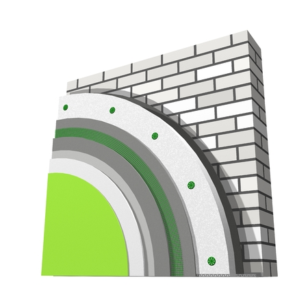 polyfoam: 3D layered scheme of exterior wall insulation using polystyrene panels for thermal isolation. Stock Photo