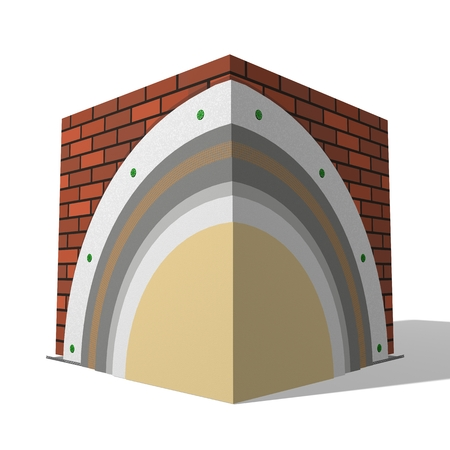 thermal: 3D layered scheme of exterior wall insulation using polystyrene panels for thermal isolation. Stock Photo