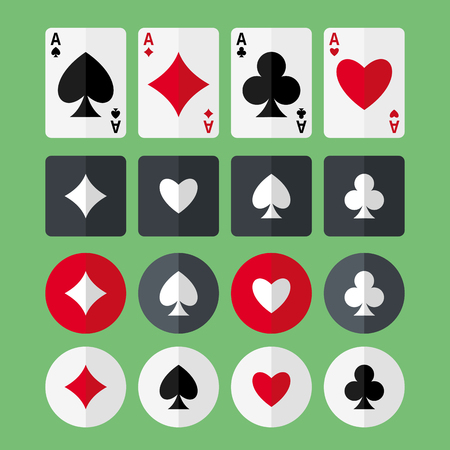 aces: Set of four aces playing cards and four suits flat icons.