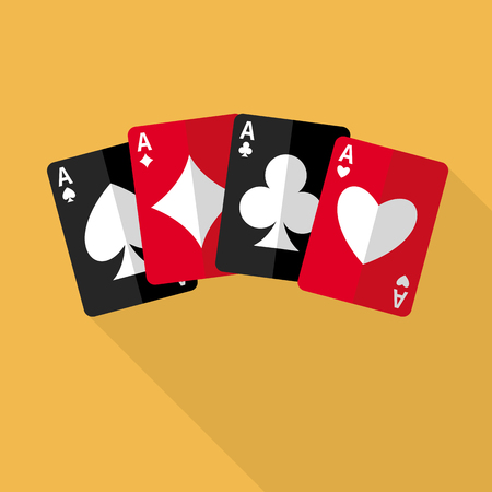 Set of four aces playing cards. Poker winning combination of four aces. Playing cards vector flat icons. Four aces flat icons. EPS8 vector illustration. Иллюстрация