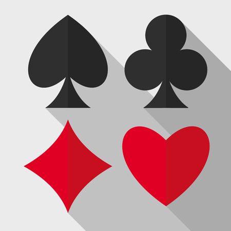 Playing cards suits flat icons. Illustration