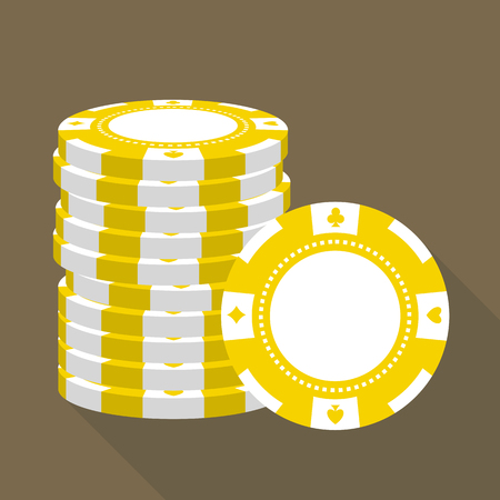 chips stack: Stack of casino chips vector flat icon.