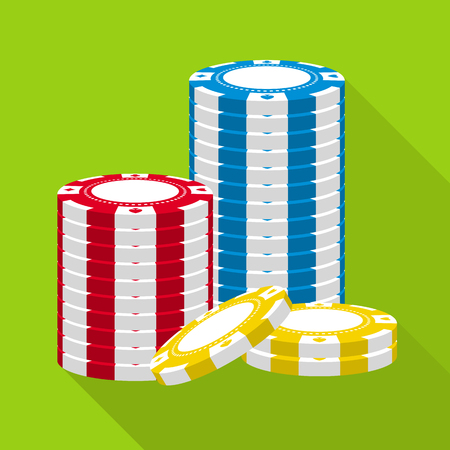 Stack of casino chips vector flat icon.