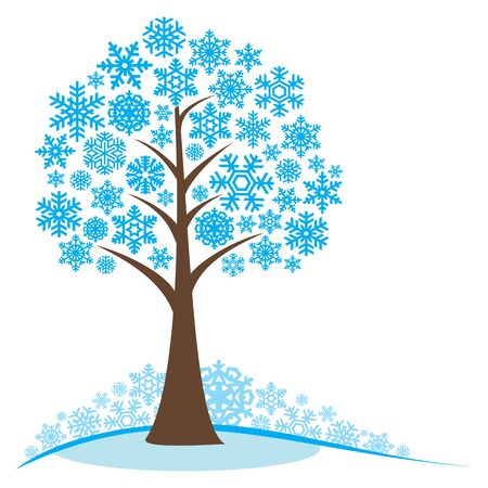 winter stylized: Winter tree with snowflakes. Concept winter tree. Stylized frozen winter tree. Isolated on white background.  vector illustration. Illustration