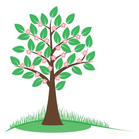 árbol de primavera con flores de color rosa. Concepto del árbol de la primavera. Estilizado árbol de la floreciente primavera. Aislado en el fondo blanco. ilustración vectorial.