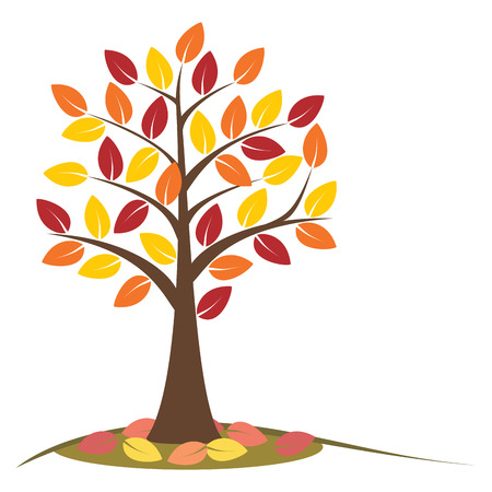 autumn tree: Autumn tree with falling leaves. Concept autumn tree. Stylized autumn tree with yellow, orange and red leaves. Isolated on white background.  vector illustration.