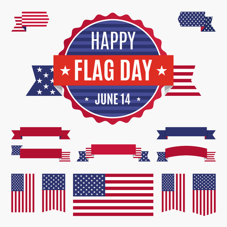 USA flag day badge, banners and ribbons isolated on light background. Happy Flag Day June 14 quote. American flag and set of design elements for easy edit. Illustration
