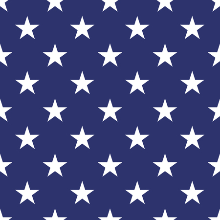 stars and symbols: Patriotic USA seamless pattern. American flag symbols and colors. Background for 4th july USA independence day. White stars on blue backdrop. Illustration