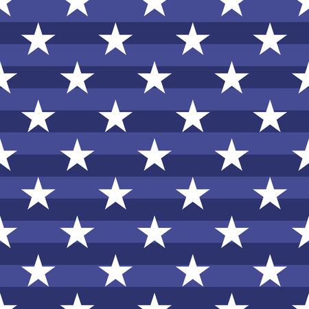 Patriotic USA seamless. Americano simboli bandiera e colori. Sfondo per il 4 luglio giorno dell'indipendenza Stati Uniti d'America. stelle bianche su sfondo blu a righe.