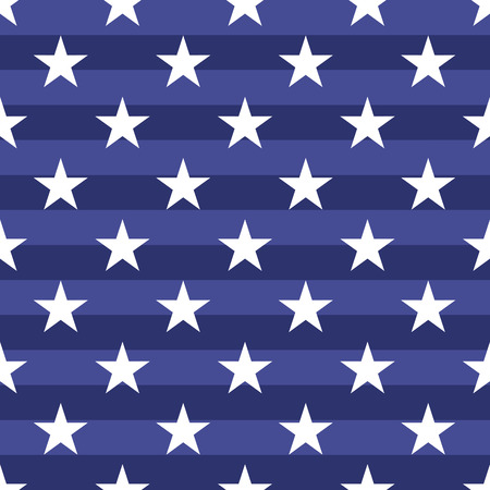 stars and symbols: Patriotic USA seamless pattern. American flag symbols and colors. Background for 4th july USA independence day. White stars on striped blue backdrop.