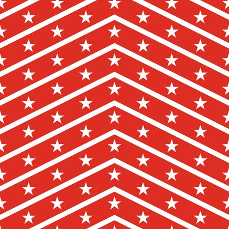 stars and symbols: Patriotic USA seamless pattern. American flag symbols and colors. Background for 4th july USA independence day. White zigzag stripes and stars on red backdrop. Illustration