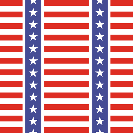 stars and symbols: Patriotic USA seamless pattern. American flag symbols and colors. Background for 4th july USA independence day. Stars and gorizontal red and white stripes. Illustration