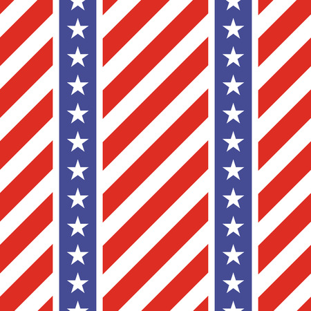 stars and symbols: Patriotic USA seamless pattern. American flag symbols and colors. Background for 4th july USA independence day. Stars and diagonal red and white stripes.