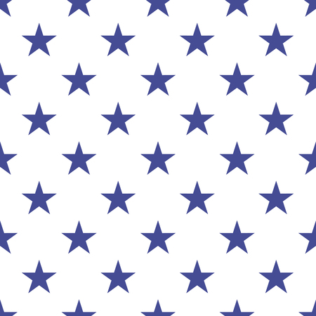stars and symbols: Patriotic USA seamless pattern. American flag symbols and colors. Background for 4th july USA independence day. Blue stars on white backdrop.