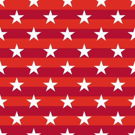 stars and symbols: Patriotic USA seamless pattern. American flag symbols and colors. Background for 4th july USA independence day. White stars on striped red backdrop.