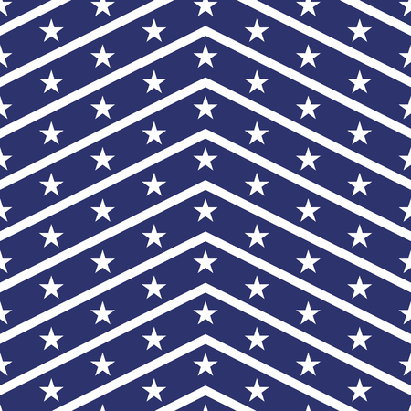 stars and symbols: Patriotic USA seamless pattern. American flag symbols and colors. Background for 4th july USA independence day. White zigzag stripes and stars on blue backdrop.
